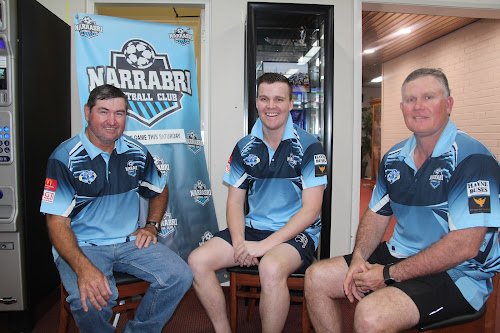 Narrabri FC president Steve Lubke, captain Zaac Brayshaw and coach Neil Brayshaw are keen to add to Narrabri FC's trophy cabinet this weekend.