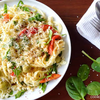 Linguine With Vegetables And Cheese.