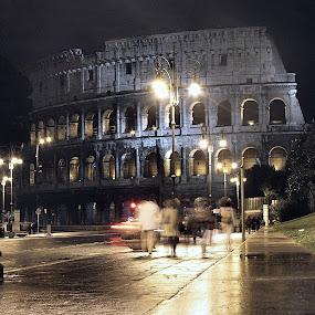 Roman Coliseum by Jud Joyce - City,  Street & Park  Street Scenes ( history, rome, buildings, night, italy )