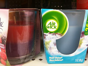 Photo: A comparison of another brand's scented candle.  I prefer the frosted glass of the Air Wick.  I'm buying this for the scent, so I want it to look nice, but I really don't want it to be noticed at all (other than the nice scent in the air).