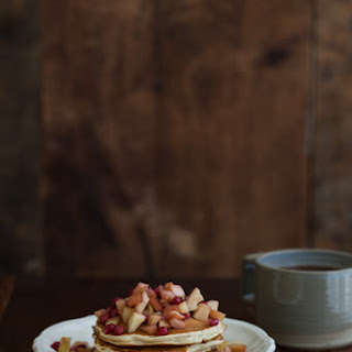 Wheat-Almond Pancakes with Apples and Pomegranate.
