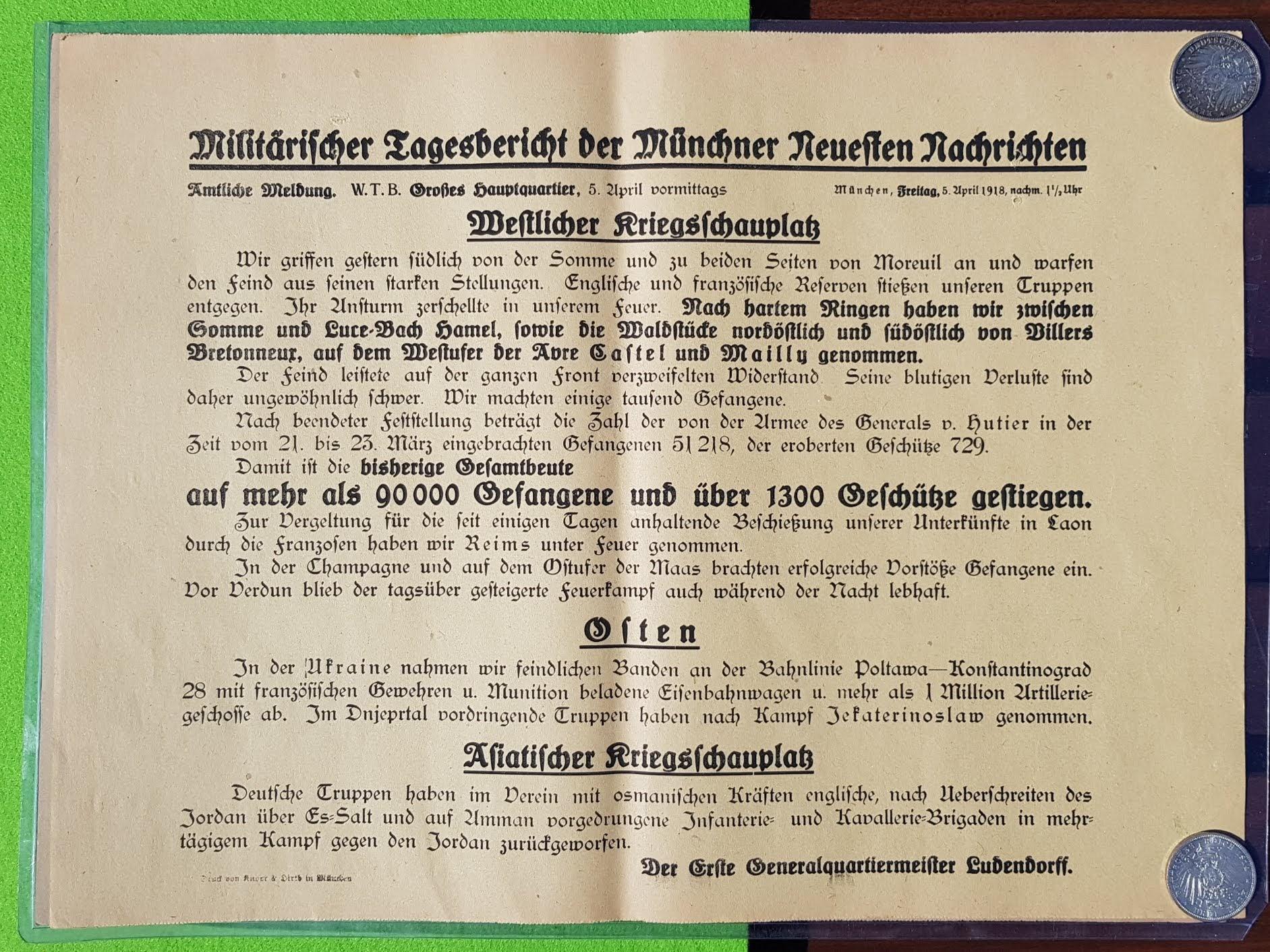 Militärischer Tagesbericht vom 5. April 1918