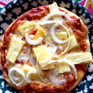 Pineapple Onion Personal Pita Pizzas.