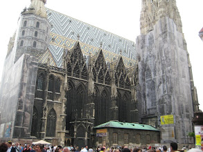 Photo: St. Stephens Cathedral was undergoing renovation with graphics hiding the scaffolding
