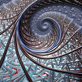 The Blues by Amanda Moore - Illustration Abstract & Patterns ( spirals, digital art, fractal art, spiral, fractal, digital, fractals )