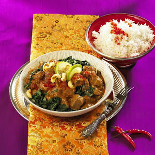 Lamb Curry with Swiss Chard and Rice.