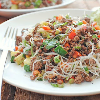 Spicy Beef and Basil with Vermicelli Noodles