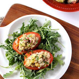 Mediterranean Salmon Salad Stuffed Tomatoes