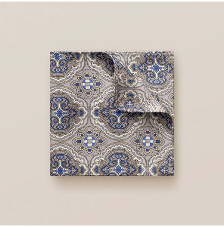 ETON Grey paisley pocket square