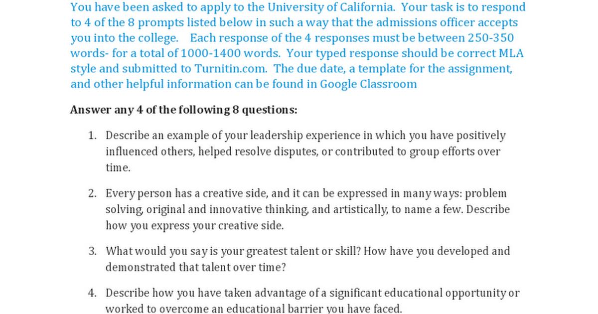 new uc freshman prompts assignmentdoc google docs