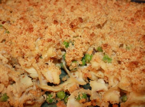 Tuna Noodle Casserole W/ Cheese Crumb Topping