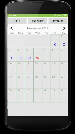 Shift duty calendar screenshot 1