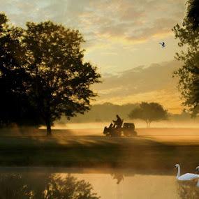 Morning On A Golf Coarse by Dennis Granzow - Landscapes Prairies, Meadows & Fields ( swans, golf course, lawn mower, digital art, landscape, pond, composite )