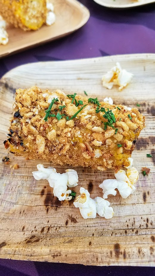 Review of Feast PDX Smoked 2017, Grilled Corn on the Cob with Huitlacoche Mayonnaise, Quicos with Chile D'Arbol and Tajin Popcorn at the Pacific Coast Fruit Company booth