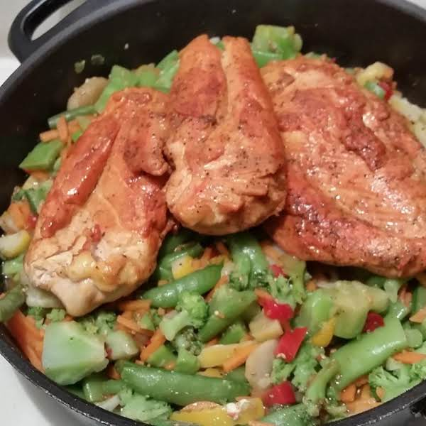 Sazon Seasoned Breasts W/ Stir Fry Veggies, Iris Recipe