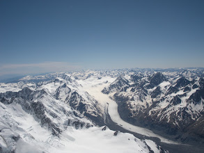 Photo: The Tasman Glacier from the summit of Aoraki/Mt Cook. The Grand Plateau is in the foreground.