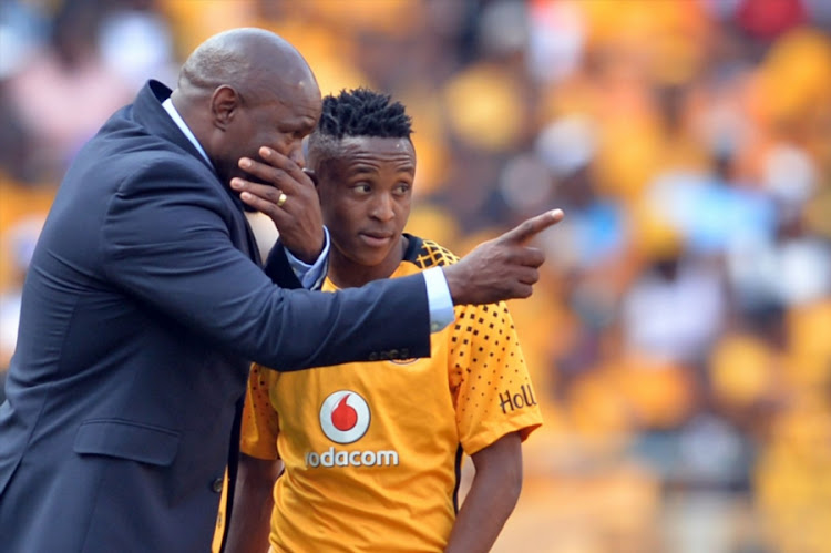 Steve Komphela and Hendrick Ekstein during the Absa Premiership match between Kaizer Chiefs and Orlando Pirates at FNB Stadium on October 21, 2017 in Johannesburg, South Africa.