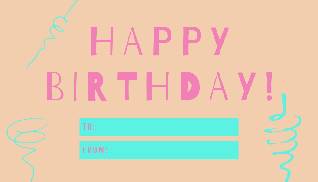 happy birthday gift tag template with spiral