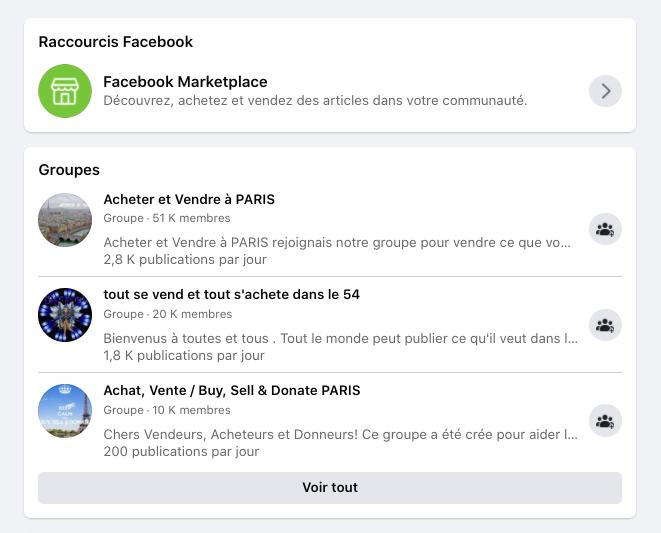 Groupe Facebook acheter vendre
