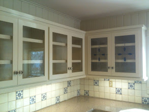 Photo: Blue Teardrop Antique Cabinets with non-traditional stained glass cabinet glass. Leaded glass, kitchen, curio, pantry, armoire, butler's pantry. Custom handmade beautiful glass.