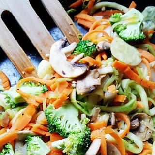 Veggie Noodle Stir-Fry in Peanut Sauce.