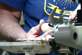 Photo: Carefully measuring the diameter of the hole in the ball for sizing the tenon on the icicle.