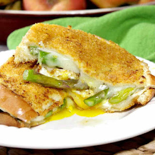 Mouthwatering Grilled Cheese Breakfast Sandwich with Provolone & Asparagus.