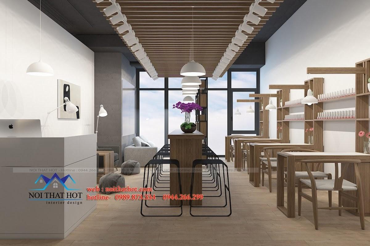 thiết kế cửa hàng nail 40m2