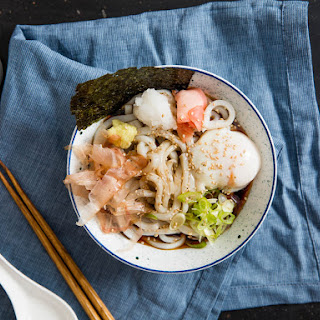 Bukkake Udon (Japanese Cold Noodles With Broth).