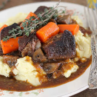 Beef and Stout Stew Over Mashed Potatoes.