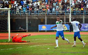 Photo: Captain Umaru 'Zingalay' Bangura celebrates his first international goal for the Leone Stars.  [Leone Stars v Swaziland 31 May 2014 (Pic: Darren McKinstry)]