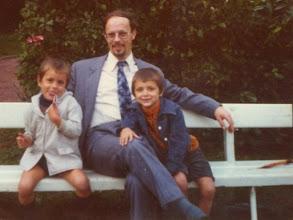 Photo: With my dad and brother, Iepenburg, Schoten (Belgium), 1975