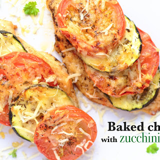 Baked Chicken Breast With Zucchini And Tomato.