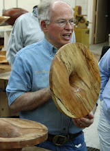 Photo: Phil promotes spalting as he stores the wood prior to roughing.  His pieces are a collaboration between him and Mother Nature.