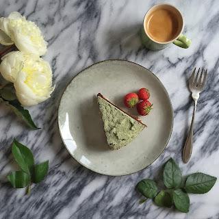Flourless Chocolate Cake with Amaranth Crust & Matcha Icing (Gluten-free).