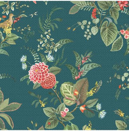 Pip 2020 Floris Tapet med blommor - Mörkblå