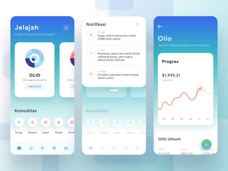 Stocks Analysis App colorful stats chart graph cards social dashboard gradient app mobile icons ios illustration