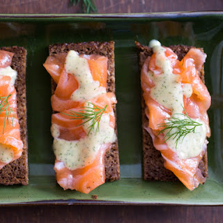 Gravlax With Caraway, Coriander, and Mustard-Dill Sauce.