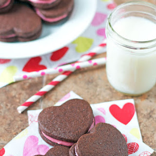 Chocolate Sandwich Cookies with Raspberry Cream Cheese Frosting