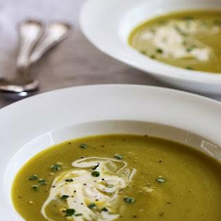 Creamy Asparagus Leek Soup with Creme Fraiche.