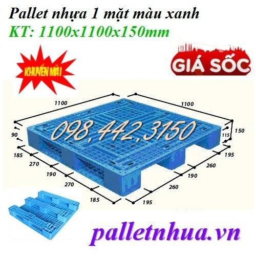 Pallet nhựa 1100x1100x150mm đan thanh