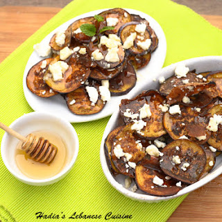 Eggplant Chips with Feta and Honey