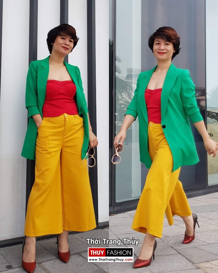 Áo vest nữ dáng suông mix quần culottes áo croptop V696 thời trang thủy hà nội