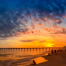 Sunset Funtime by RomanDA Photography - Landscapes Beaches ( clouds, pensacola, water, sky, sunset, gulf, ocean, beach, people )