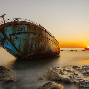 Abandoned boat by Nikos Diavatis - Transportation Boats