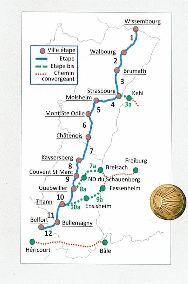 La route de Saint-Jacques en Alsace est balisée depuis Wissembourg jusqu'à Thann. Les pélerins venant de Fribourg passent par Fessenheim, puis Ensisheim