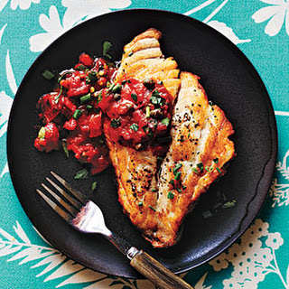 Pan-Roasted Fish with Mediterranean Tomato Sauce.