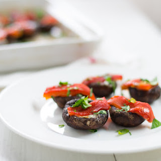 Manchego and Roasted Pepper Stuffed Mushrooms #AppetizerWeek.