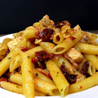 Rustic Chicken-Bacon-Sun-Dried Tomato Penne Pasta.