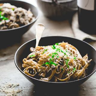 Vegetarian Fettuccine Carbonara With Mushrooms.